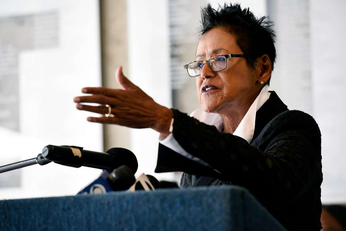 Former Black Panther Party chairwoman Elaine Brown speaks during a press conference at the Oakland Museum of California announcing the 50th anniversary commemoration of the Black Panther Party that will include a show at the museum in October, in Oakland, CA Friday, April 22, 2016.