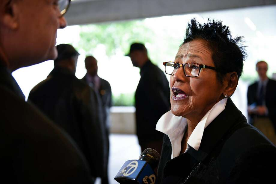 Former Black Panther Party chairwoman Elaine Brown speaks to the media during a press conference at the Oakland Museum of California announcing the 50th anniversary commemoration of the Black Panther Party that will include a show at the museum in October, in Oakland, CA Friday, April 22, 2016. Photo: Michael Short, Special To The Chronicle