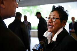 Former Black Panther Party chairwoman Elaine Brown speaks to the media during a press conference at the Oakland Museum of California announcing the 50th anniversary commemoration of the Black Panther Party that will include a show at the museum in October, in Oakland, CA Friday, April 22, 2016.