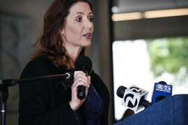 Oakland mayor Libby Schaaf speaks during a press conference at the Oakland Museum of California announcing the 50th anniversary commemoration of the Black Panther Party that will include a show at the museum in October, in Oakland, CA Friday, April 22, 2016.