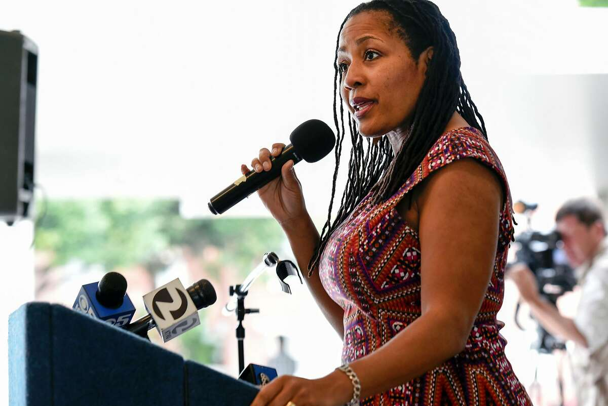 Oakland City Council President Lynette Gibson McElhaney speaks during a press conference at the Oakland Museum of California, in Oakland, CA Friday, April 22, 2016.