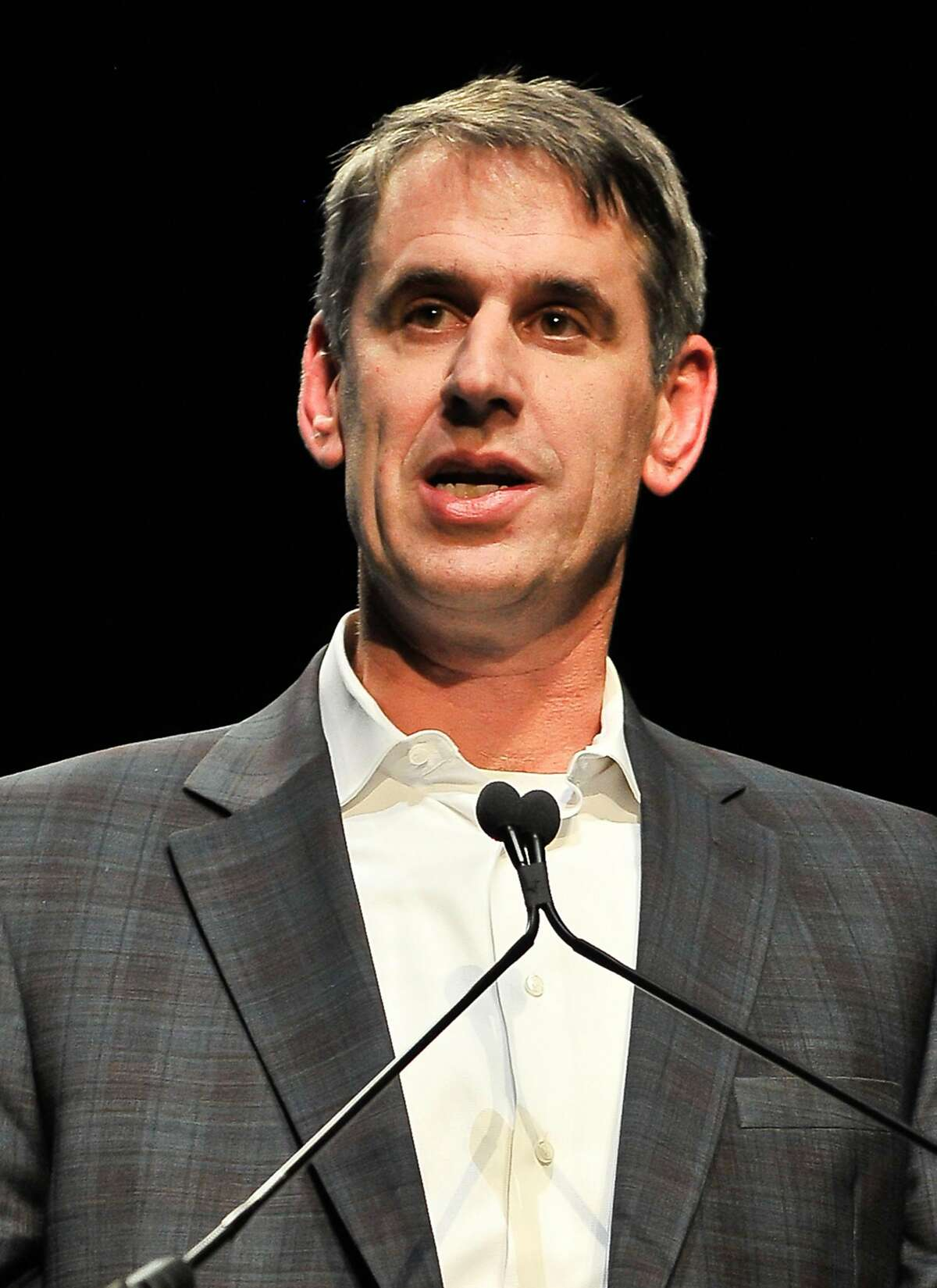 Bill Gurley, general partner at Benchmark, wins the 2016 VC of the Year award at the TechCrunch 9th Annual Crunchies Awards at the War Memorial Opera House in San Francisco.