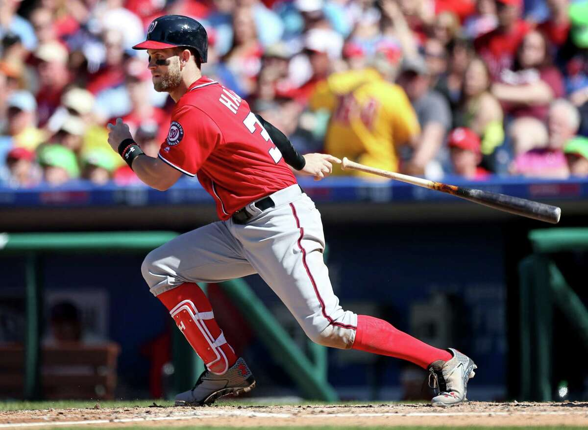 Washington Nationals right fielder Bryce Harper (34) in action during a baseball game against the Philadelphia Phillies on Sunday. He's the best baseball player on the planet, probably in the entire Milky Way. (Those box scores are slow in coming in.)