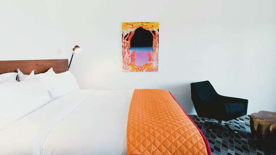 boxy Hotel Saint George, far left, has artfully modern rooms, left. Photo: TREY DILLON / Trey Dillon 2016