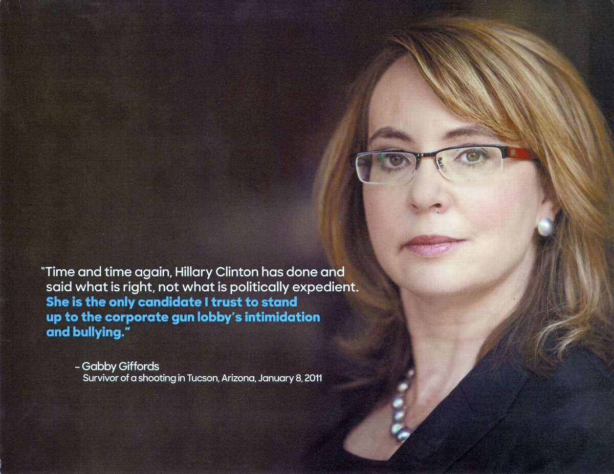 The front of a flyer sent to Connecticut Democrats by the Clinton campaign tours her endorsement by former Arizona Congressman Gabby Giffords.