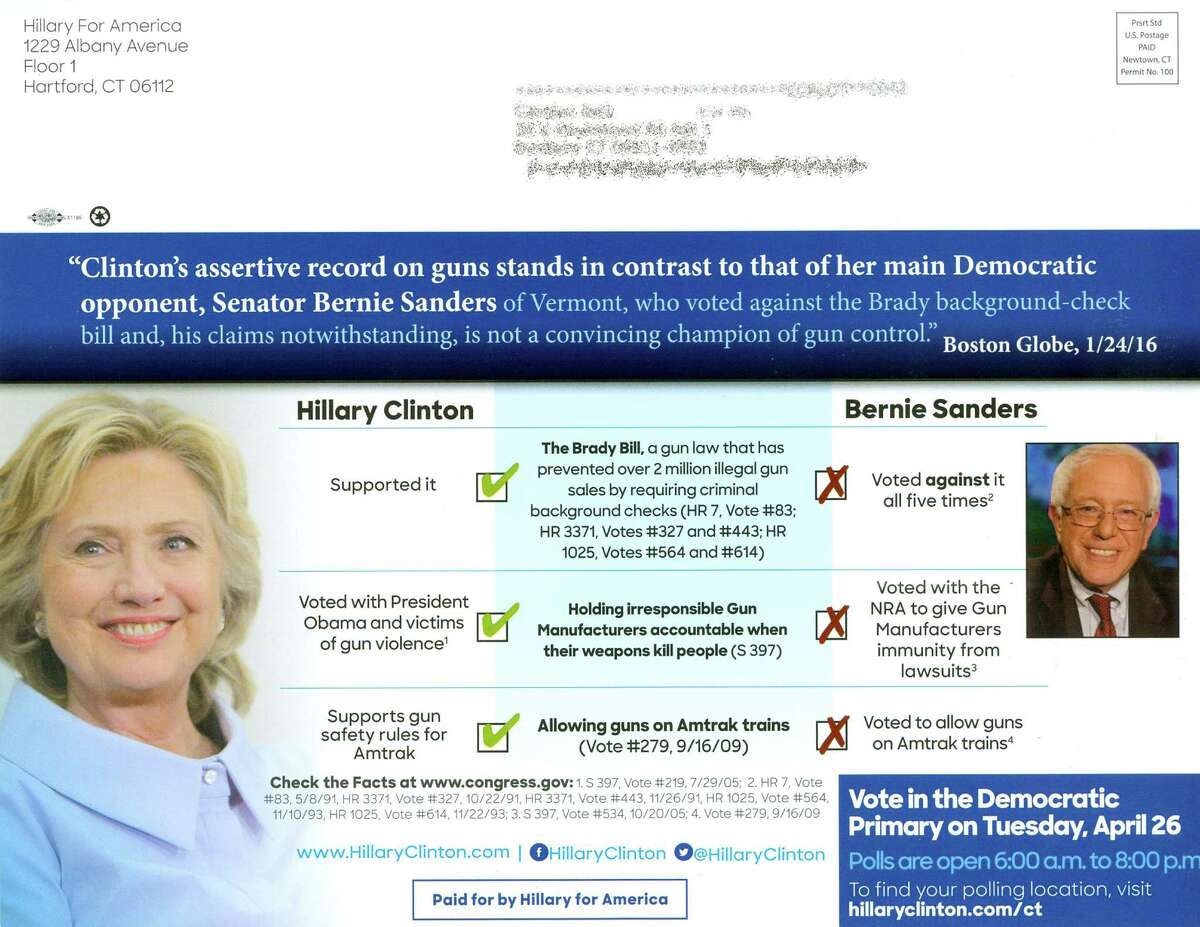 The back of this flyer sent to Connecticut Democrats by the Clinton campaign sets out their differences on gun issues.