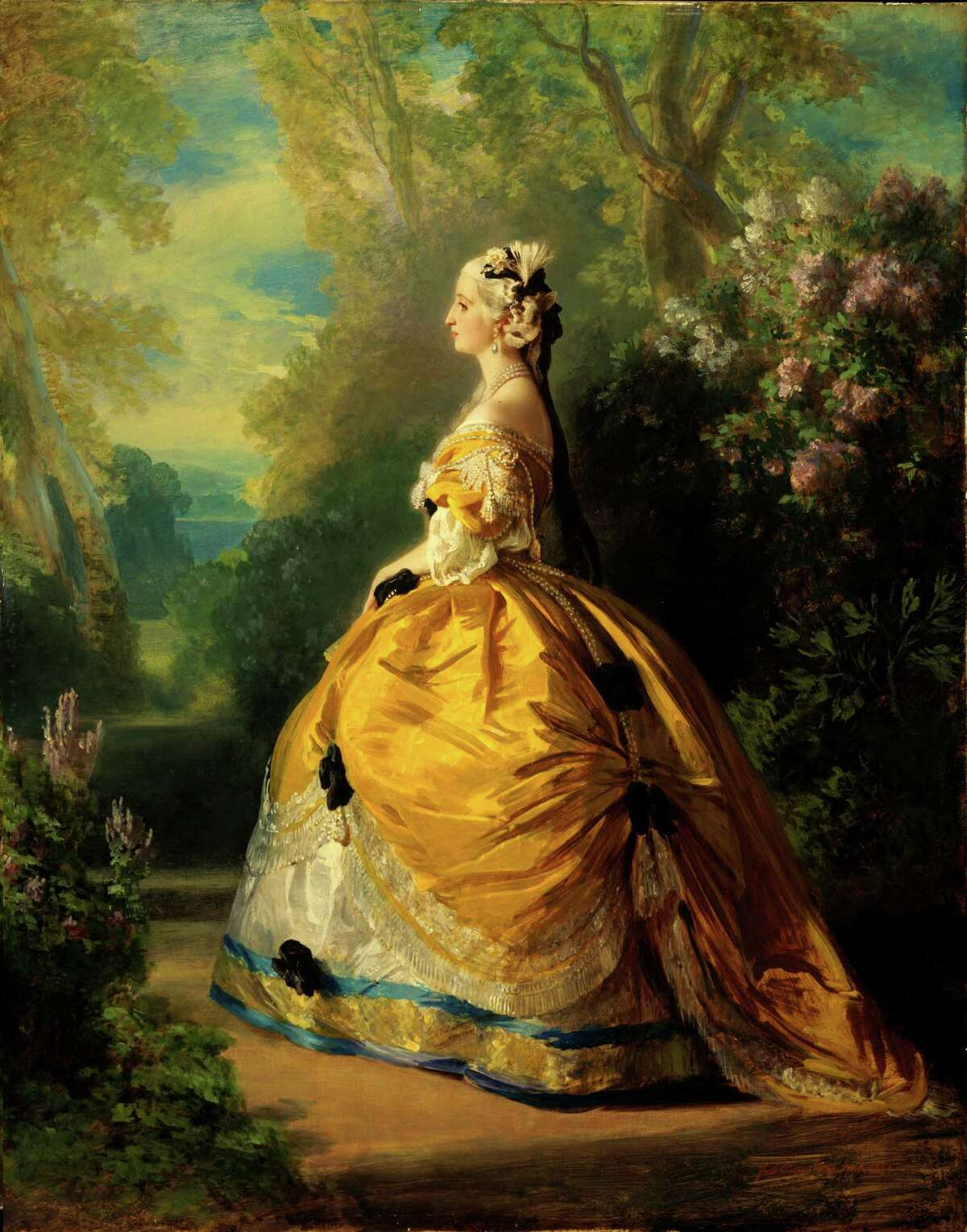 """""""Empress Eugenie in 18th-Century Costume"""" is among the paintings in """"High Society: The Portraits of Franz X. Winterhalter"""" at the Museum of Fine Arts, Houston through Aug. 14."""