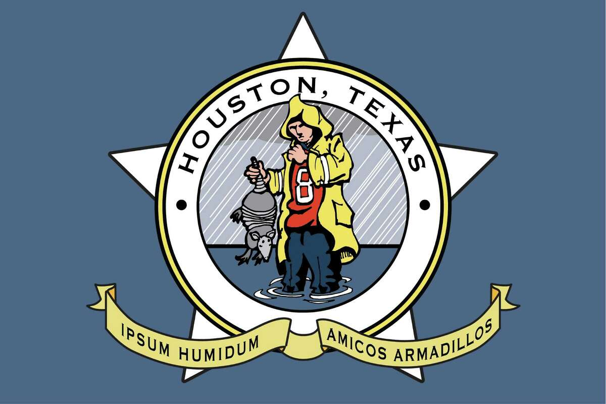 """Proposed new flag for Houston. Design suggested by Cort McMurray in a Gray Matters piece, """"Houston needs a new flag. With a flood. And an armadillo. Illustration by Ken Ellis / Chronicle."""