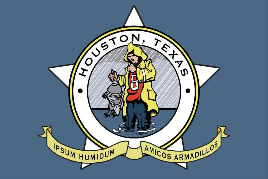 """Proposed new flag for Houston. Design suggested by Cort McMurray in a Gray Matters piece, """"Houston needs a new flag. With a flood. And an armadillo. Illustration by Ken Ellis / Chronicle. Photo: Ken Ellis"""