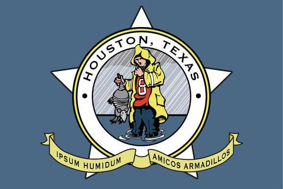 "Proposed new flag for Houston. Design suggested by Cort McMurray in a Gray Matters piece, ""Houston needs a new flag. With a flood. And an armadillo. Illustration by Ken Ellis / Chronicle."