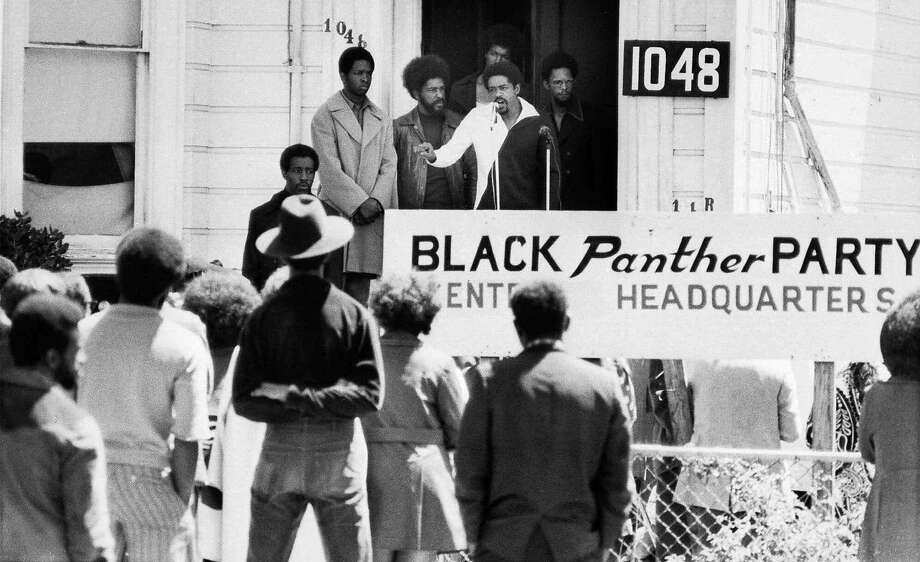 Bobby Seale, chairman of the Black Panther Party, addresses a rally outside the party headquarters in Oakland in 1971, calling for a boycott of certain liquor stores. Photo: AP