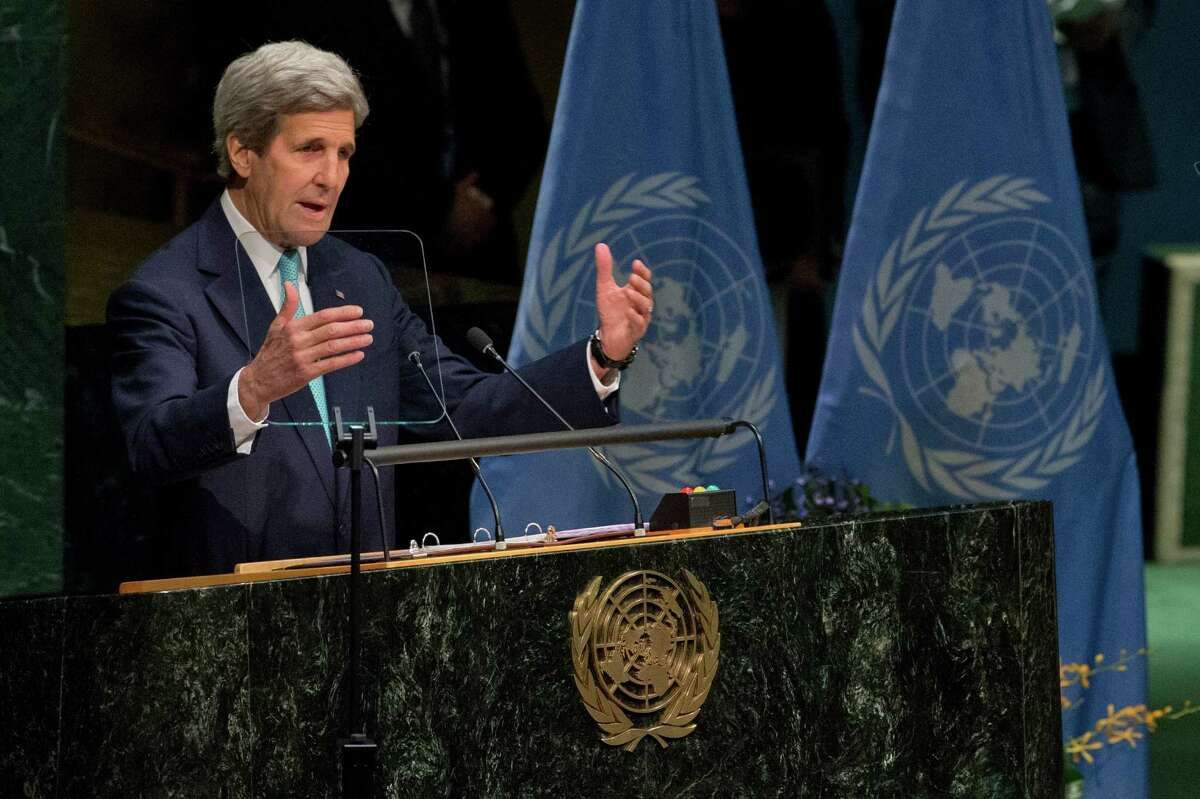 American Secretary of State John Kerry speaks during the Paris Agreement on climate change ceremony, Friday, April 22, 2016 at U.N. headquarters. (AP Photo/Mary Altaffer)
