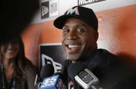 Former San Francisco Giants' slugger Barry Bonds who is now the hitting coach for the Florida Marlins returns to AT&T Park in a major league uniform for the first time since August of 1992,  on Fri. April 22, 2016, in San Francisco, California.