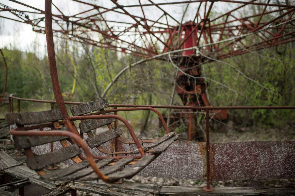An amusement ride is seen in the abandoned city of Pripyat, Ukraine, April 22, 2016.