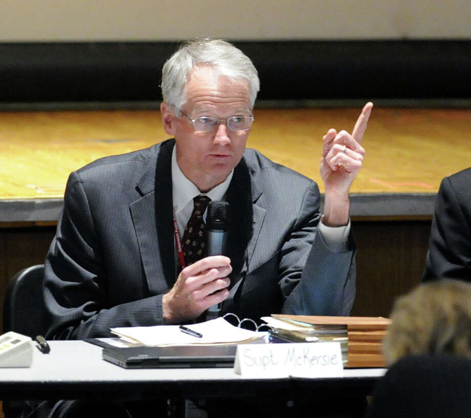 Superintendent of Schools William McKersie speaks during the school district public forum on school start times at Central Middle School in Greenwich, Conn., Wednesday night, April 6, 2016. Photo: Bob Luckey Jr. / Hearst Connecticut Media / Greenwich Time