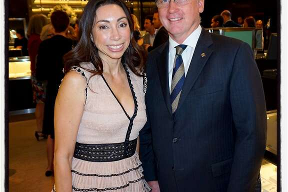 Modern Ball chairwoman Gina Peterson and Tiffany VP Tom Carroll celebrate the jeweler's support of SFMOMA. April 2016.