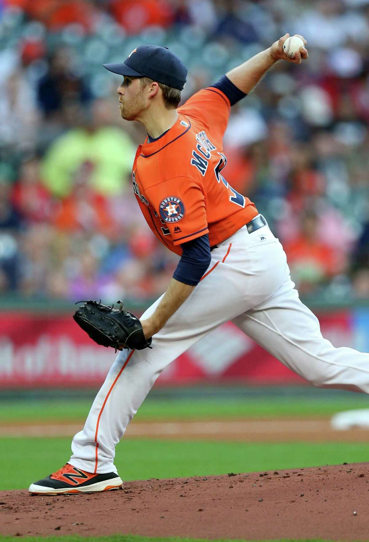 Houston Astros starting pitcher Collin McHugh (31) delivers a pitch agains the Boston Red Sox at Minute Maid Park Friday, April 22, 2016, in Houston, Texas.