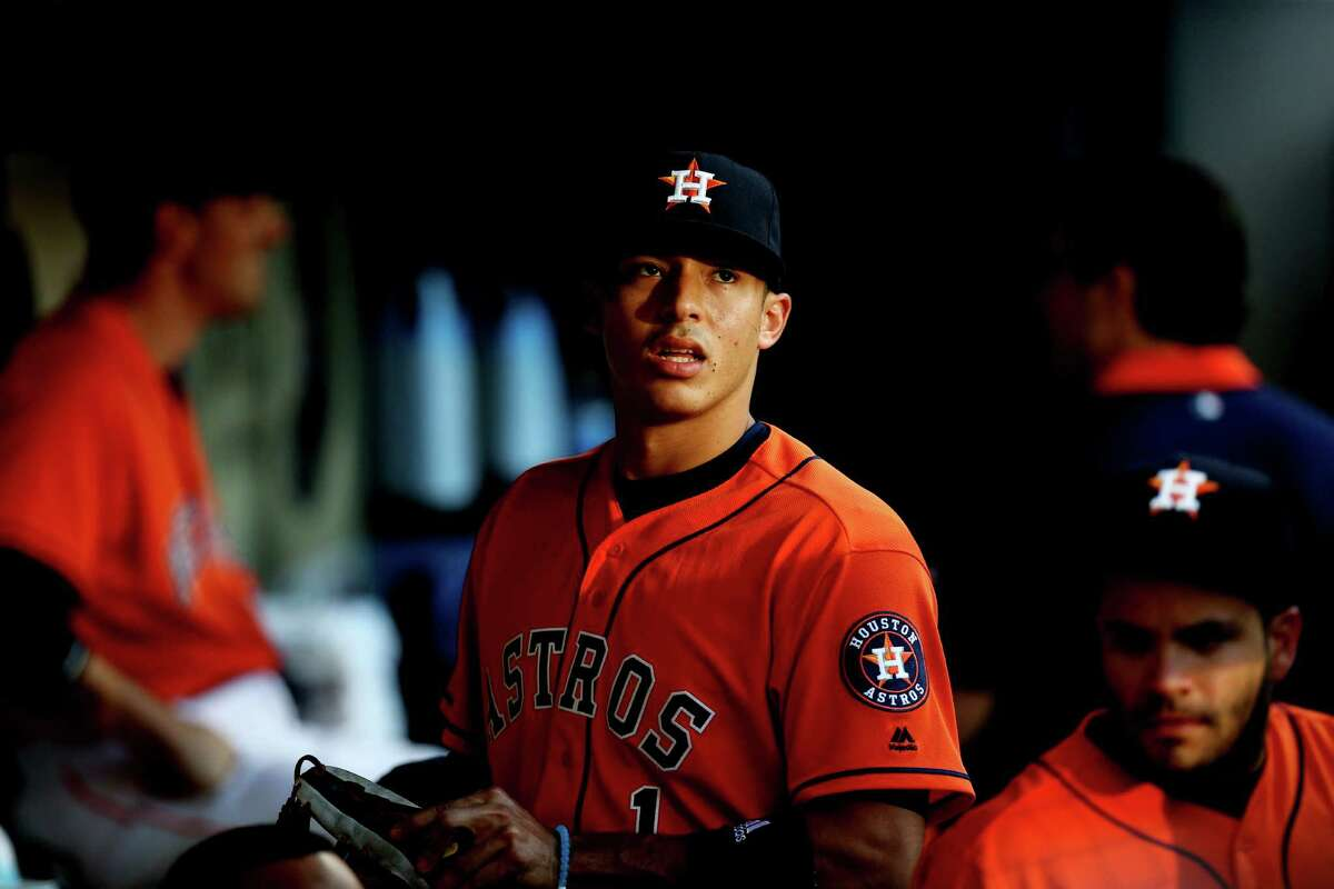Houston Astros shortstop Carlos Correa (1) before the start of a game agains the Boston Red Sox at Minute Maid Park Friday, April 22, 2016, in Houston, Texas.