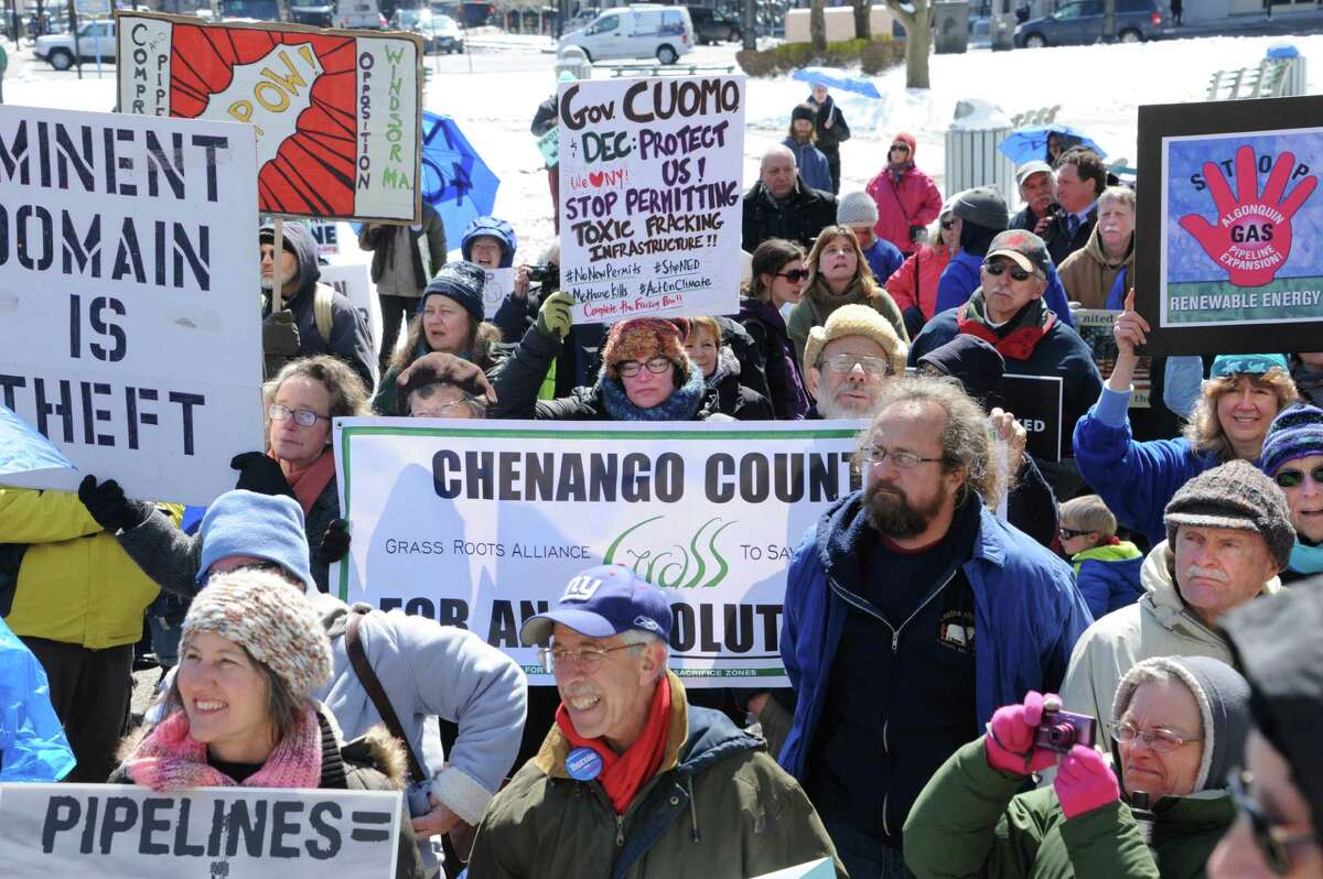 People gather for a rally against the Constitution Pipeline at the New York State Capitol on Tuesday, April 5, 2016 in Albany, N.Y. (Lori Van Buren / Times Union)