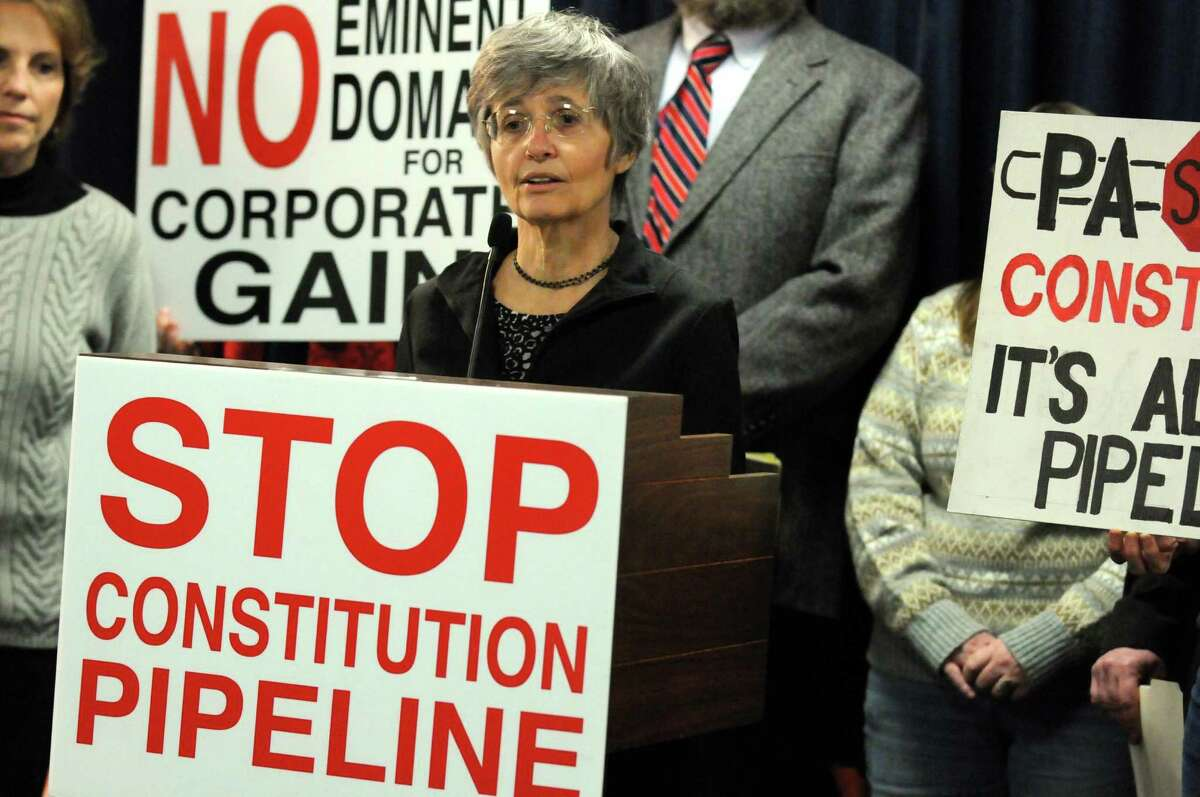 Anne-Marie Garti joins others to denounce the Federal Energy Regulatory Commission?'s (FERC) premature approval of mass tree cutting along the 25 mile Pennsylvanian route of the proposed Constitution Pipeline during a press conference at the Legislative Office Building on Thursday Feb. 18, 2016 in Albany, N.Y. (Michael P. Farrell/Times Union)