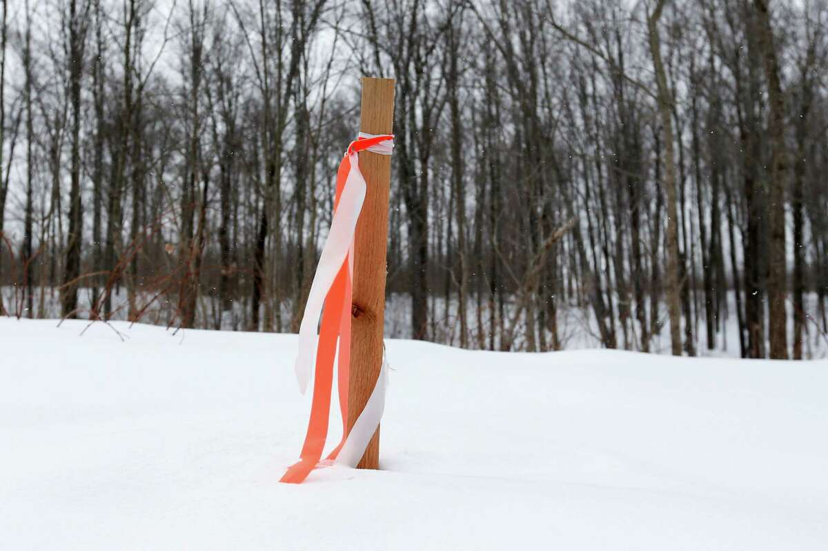 In this Thursday, Feb. 26 photo, a ribbon tied to a stake on Kernan family property marks the proposed path of the Constitution Pipeline in Harpersfield, N.Y. The developer of a 124-mile-long pipeline to bring Marcellus Shale gas from Pennsylvania to New York City and New England is using both carrot and stick to achieve its goals. (AP Photo/Mike Groll) ORG XMIT: NYMG205