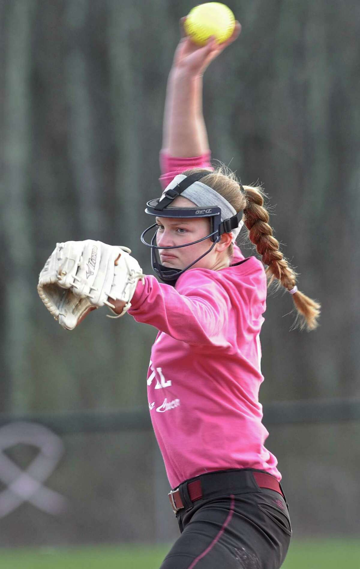 FILE PHOTO: Bethel's Annika Haskett (9) pitches in the girls high school softball game between Abbott Tech and Bethel high schools played at Freebairn Field, in Bethel, Conn, on Thursday night, April 23, 2015.