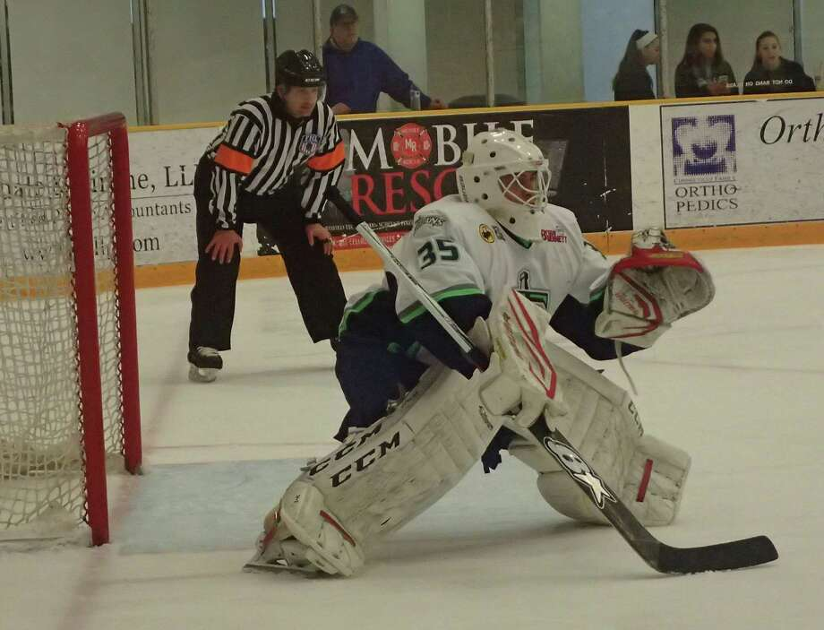 FILE PHOTO: Danbury Titans goalie Nikita Ivandikov was staked to a 5-0 lead before he faced a single shot in the Federal Hockey League game against the Berlin River Drivers at the Danbury Arena April 1, 2016. Photo: Richard Gregory / Richard Gregory