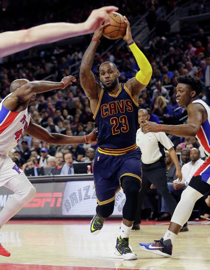 Cleveland Cavaliers forward LeBron James drives during the second half in Game 3 of a first-round NBA basketball playoff series against the Detroit Pistons, Friday, April 22, 2016 in Auburn Hills, Mich. (AP Photo/Carlos Osorio) Photo: Carlos Osorio, STF / AP