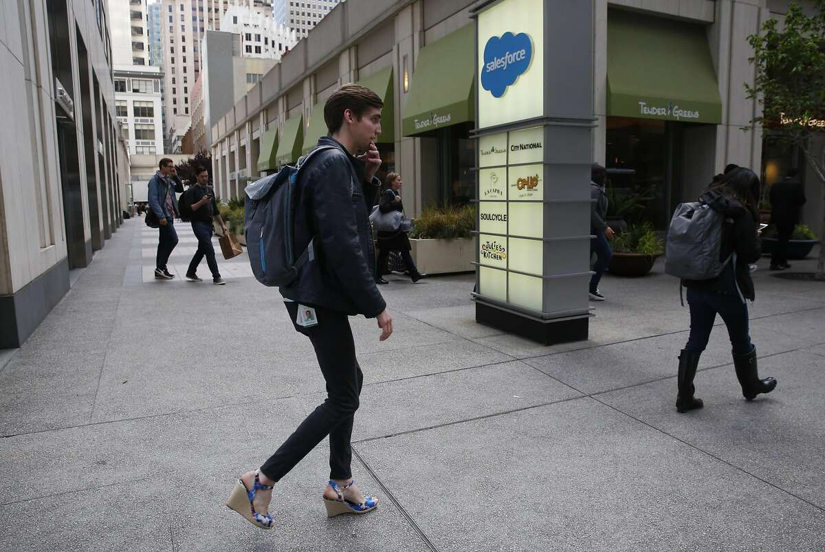 Kyle Graden, who is a Product Marketing Analyst for Advertising Products for Salesforce leaves the building after the work day for home April 22, 2016 in San Francisco, Calif.