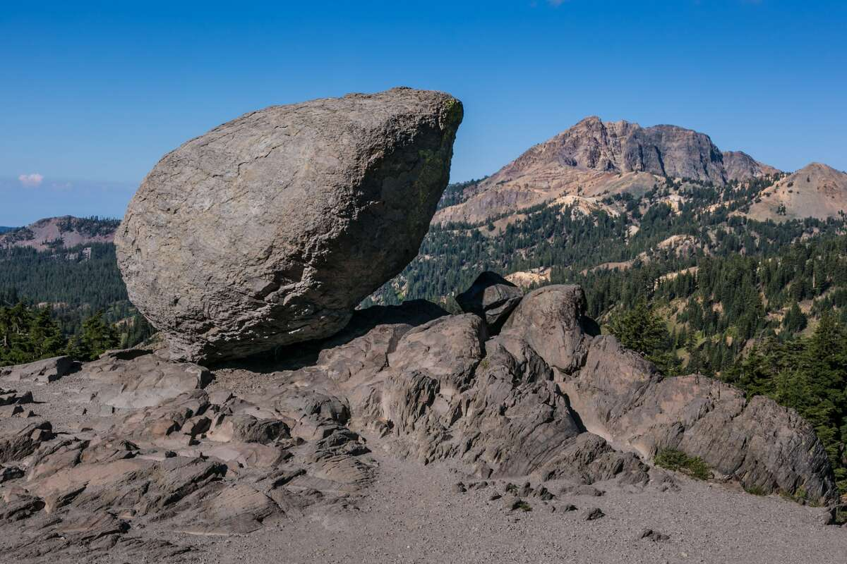 MT. LASSEN, CA - JULY 20: A boulder sitting precariously on the slopes of Mt. Lassen, an active volcano that last erupted in 1915, is a good example of 'glacial erratic' as viewed on July 20, 2015, in Mt. Lassen National Park, California. After entering the fourth year of drought, reservoirs continue to flucuate at low levels, Governor Jerry 'Edmund' Brown has declared a 'mandatory reduction' on water useage for all of California.