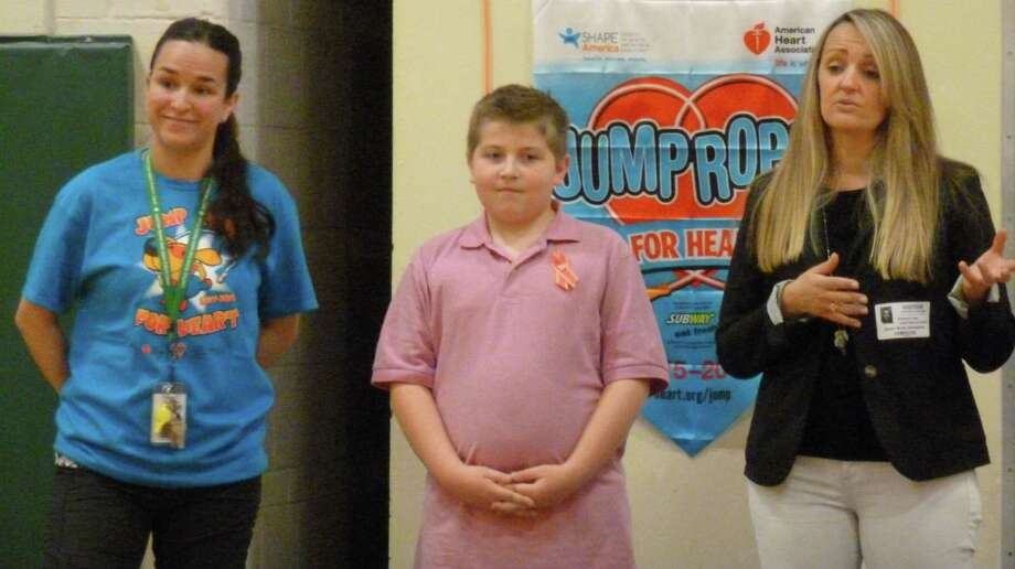 Luke Christos, a fourth-grade student at Sarah Noble Intermediate School in New Milford, recently participated in the American Heart Associations Jump Rope for Heart Program during physical education class at SNIS. Luke raised over $2,000 dollars in honor of his aunt. He set a fundraising goal early on in the program and shattered it by raising as much as he did. Sarah Noble students collected donations for over a month and raised more than $16,000 for the American Heart Association. Above, Luke is shown with PE teacher Daniella Brooks, left, and Kim Fazio of the American Heart Association. Photo: Courtesy Of Sarah Noble Intermediate School / The News-Times Contributed