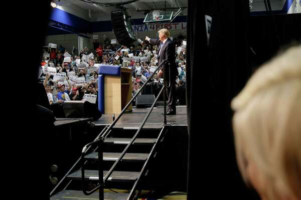 Republican presidential candidate Donald Trump thanks supporters during a campaign event at Crosby High School in Waterbury, Conn., Saturday, April 23, 2016.