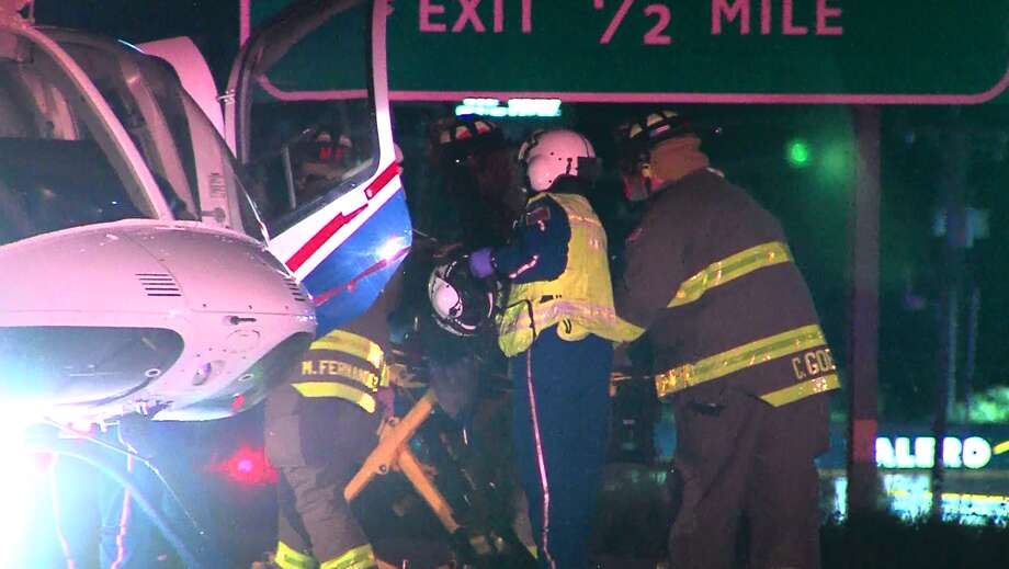 Emergency crews respond to a wreck on the far North Side sent two people to the hospital in critical condition Saturday morning, April 23, 2016. Photo: Courtesy Pro 21 Video, For MySA.com