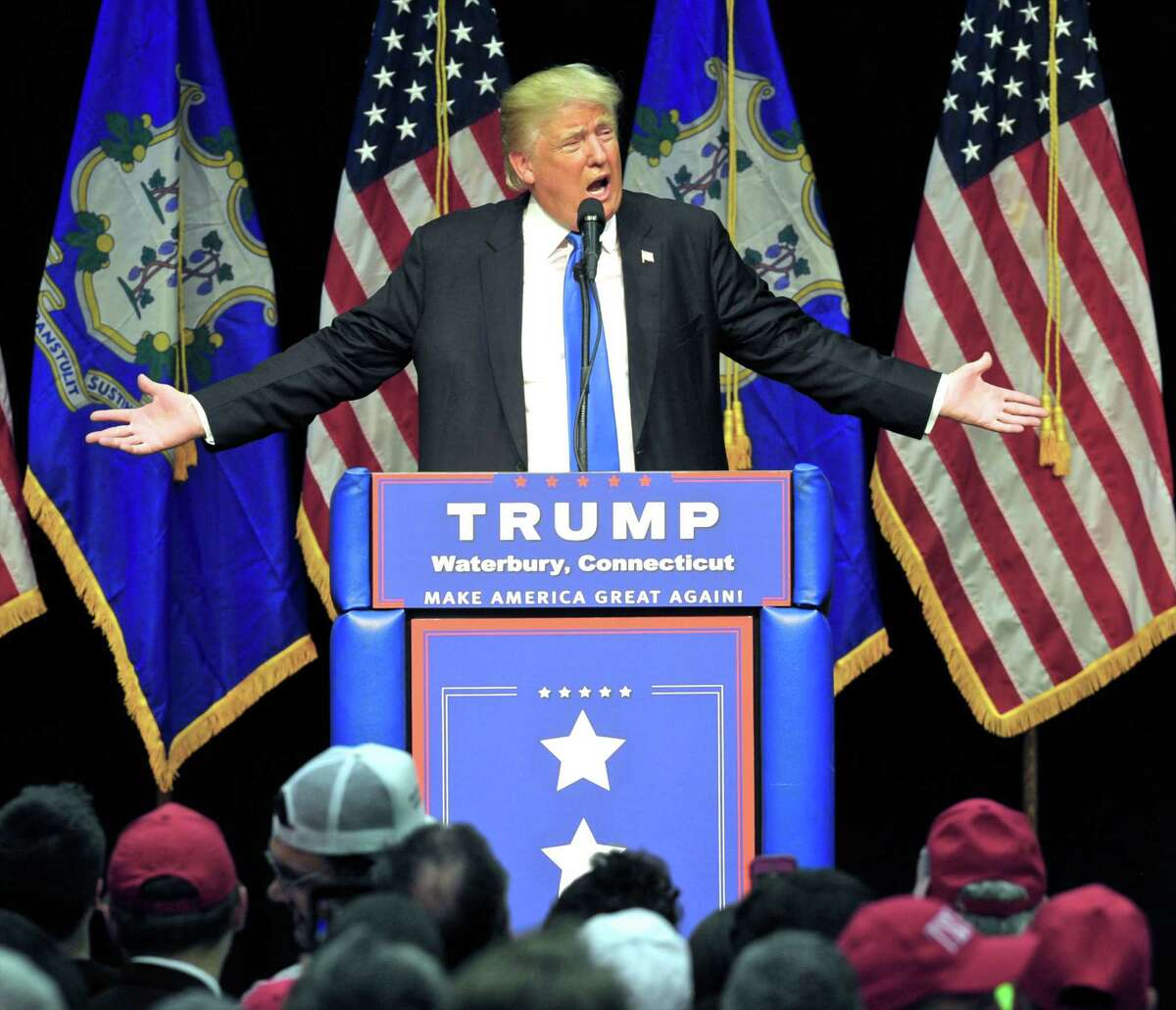 Donald Trump speaks during a campaign rally at Crosby High School, in Waterbury, Conn, on Saturday morning, April 23, 2016.