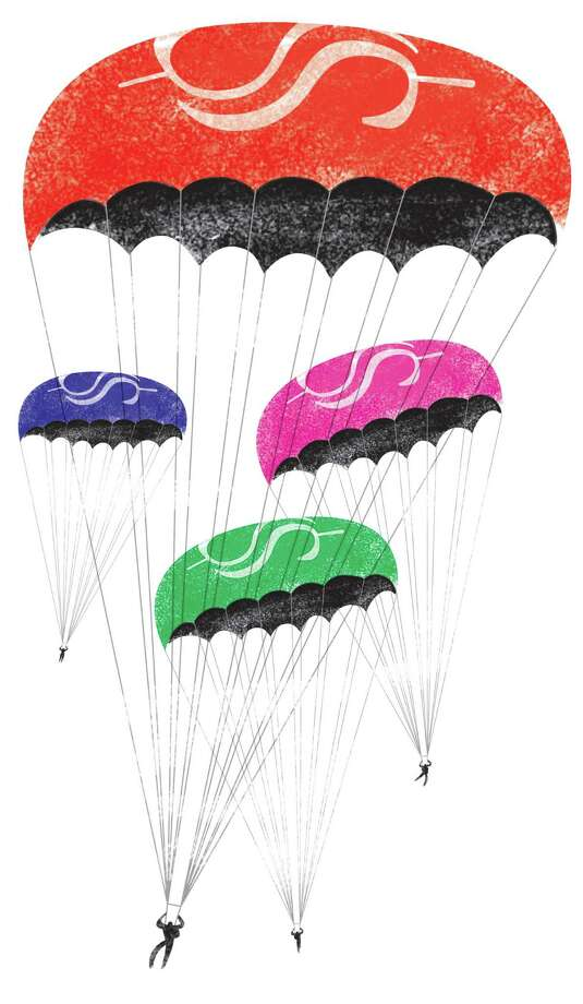 300 dpi Gabi Campanario color illustration of people with dollar sign parachutes; can be used with story about retirement. The Seattle Times 200909000000; krtlabor labor; krtnational national; krtworld world; LAB; krt; mctillustration; 04018000; 09006000; 09011001; 09011002; employe benefit; employee benefit; FIN; pension; retirement; wage; campanario; se contributed; 2009; krt2009 Photo: Campanario / © MCT 2009