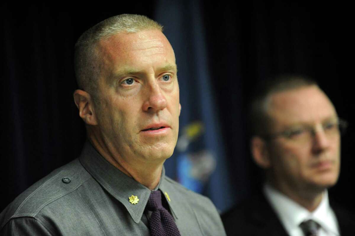 Maj. William Keeler, left, and Capt. Robert Patnaude hold a news conference in April 2016, at Troop G Headquarters in Latham, N.Y. They were responding to an incident where two troopers shot and killed Carl Baranishyn, 51, of Berne. (Cindy Schultz / Times Union)
