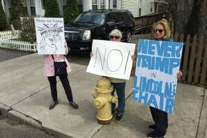 A rally for Republican presidential hopeful Donald Trump drew hundreds of supporters and scores of protesters to the Klein Auditorium Saturday.