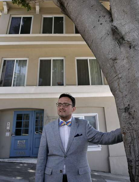 San Francisco Supervisor David Campos on Sat. April 23, 2016, in front of a property at 1297 Dolores in San Francisco, California, that the city says was illegally converted into a tourist hotel. Campos along with Aaron Peskin want to toughen San Francisco's vacation-rental laws to make platforms like Airbnb and HomeAway more responsible to enforce the law. Photo: Michael Macor, The Chronicle