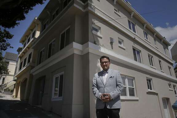 San Francisco Supervisor David Campos on Sat. April 23, 2016, in front of a property at 1297 Dolores in San Francisco, California, that the city says was illegally converted into a tourist hotel. Campos along with Aaron Peskin want to toughen San Francisco's vacation-rental laws to make platforms like Airbnb and HomeAway more responsible to enforce the law.