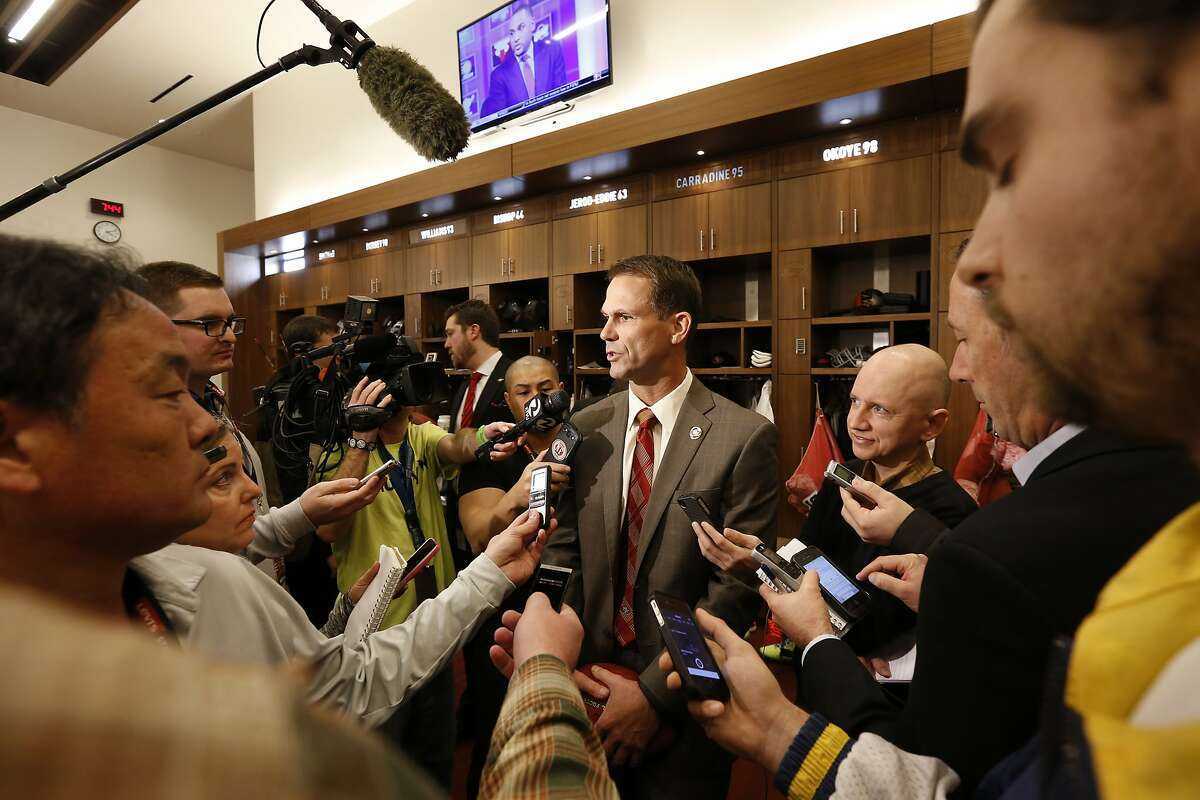 SANTA CLARA, CA - JANUARY 15: General Manager Trent Baalke talks to the media in the locker room following a press conference at Levi's Stadium on January 15, 2015 in Santa Clara, California. The San Francisco 49ers announced Jim Tomsula as their new head coach to replace Jim Harbaugh. (Photo by Michael Zagaris/San Francisco 49ers/Getty Images)