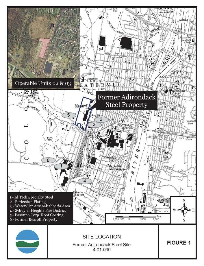 A state Department of Environmental Conservation map shows details of the cleanup planned at a former Colonie steel mill.