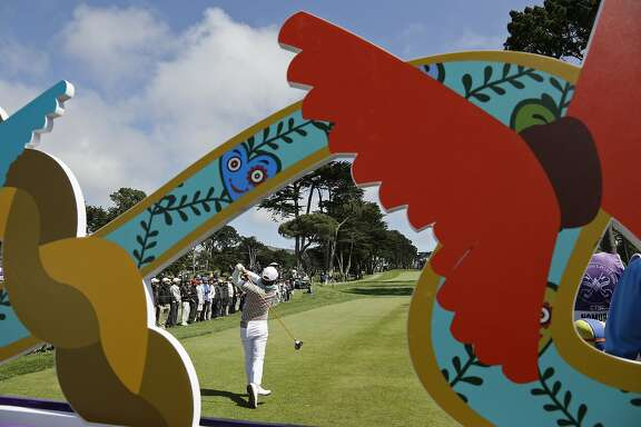 Haru Nomura, of Japan, hits from the sixth tee of the Lake Merced Golf Club during the third round of the Swinging Skirts LPGA Classic golf tournament Saturday, April 23, 2016, in Daly City, Calif. (AP Photo/Eric Risberg)