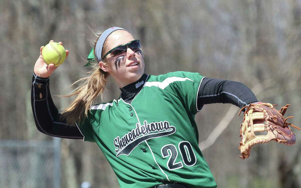 Shenendehowa's Kelly Barkevich warms up at first during Saturday's softball matchup at Averill Park High School April 23, 2016. (Ed Burke/Special to the Times Union)