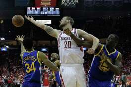 The Rockets' Donatas Motiejunas, center, had 14 points and 13 rebounds in Game 3 on Thursday.