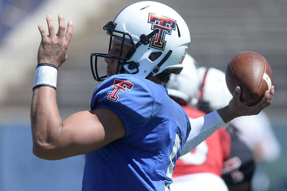 Texas Tech quarterback Patrick Mahomes II throws during spring scrimmage Saturday, April 2, 2016, at Grande Communications Stadium.