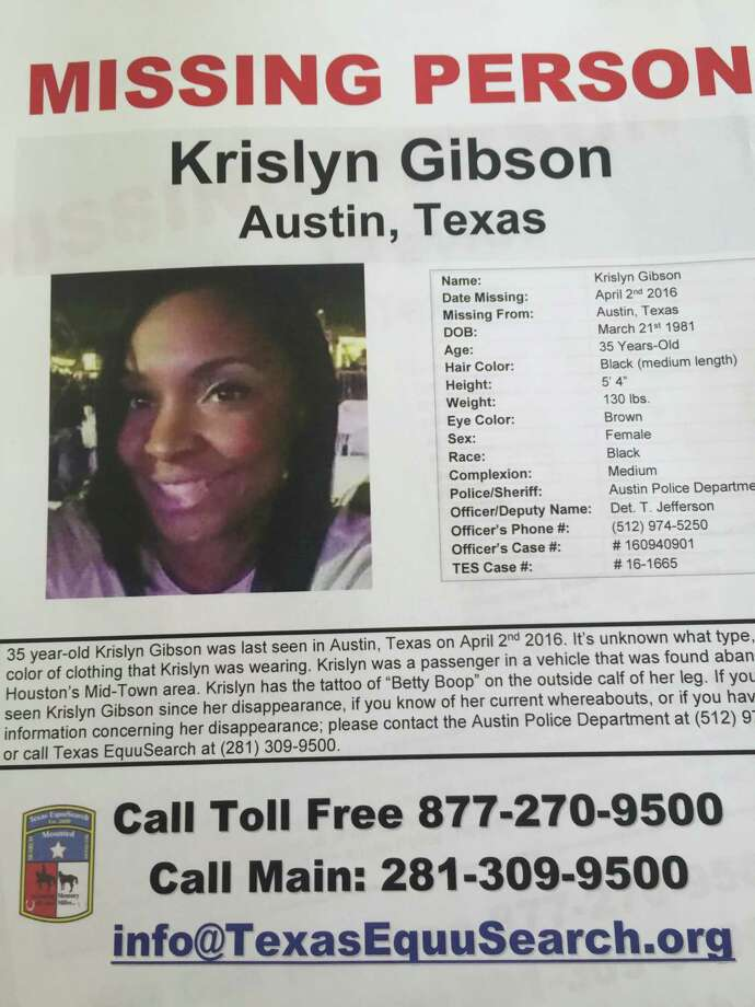 Photo 2  - Missing person photo from Krislyn Gibson, of the Houston area, who was last seen in Austin the weekend of April 1 with her long-time friend, Sidney Taylor. She works for ExxonMobil and is a single mother with an 8-year-old son. (Photo by Dane Schiller) Photo: Dane Schiller / Houston Chronicle