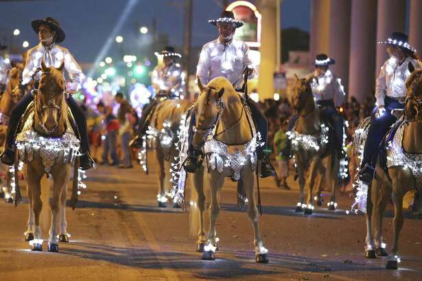 The Texas Heritage Riders take part  in the 2016 Fiesta Flambeau Parade held Saturday April 23, 2016.