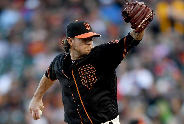 SAN FRANCISCO, CA - APRIL 23:  Jake Peavy #22 of the San Francisco Giants pitches against the Miami Marlins in the top of the first inning at AT&T Park on April 23, 2016 in San Francisco, California.  (Photo by Thearon W. Henderson/Getty Images)