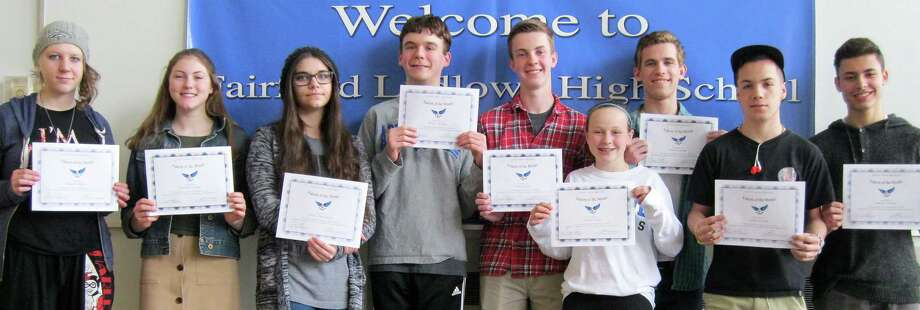 """""""Falcons of the Month"""" selected at Fairfield Ludlowe High School for March include, from left, Eleanor Roberts, Elizabeth Sander, Melissa Zaccagnino, Henry Durham, Brian Deely, Kelsey Brown, Dylan Lanham, Ismael Serrano and Yan de Oliveira. Missing for the photo are: Ally Kochersperger, Riley Blumenfield, Victoria Guasco and Ryan O'Shea. Photo: Contributed / Contributed Photo / Fairfield Citizen"""