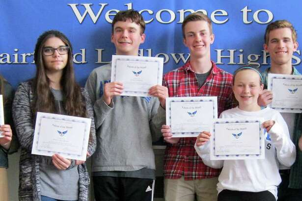 """Falcons of the Month"" selected at Fairfield Ludlowe High School for March include, from left, Eleanor Roberts, Elizabeth Sander, Melissa Zaccagnino, Henry Durham, Brian Deely, Kelsey Brown, Dylan Lanham, Ismael Serrano and Yan de Oliveira. Missing for the photo are: Ally Kochersperger, Riley Blumenfield, Victoria Guasco and Ryan O'Shea."